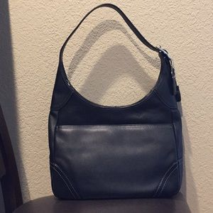 Coach (F10280) black leather large hobo bag